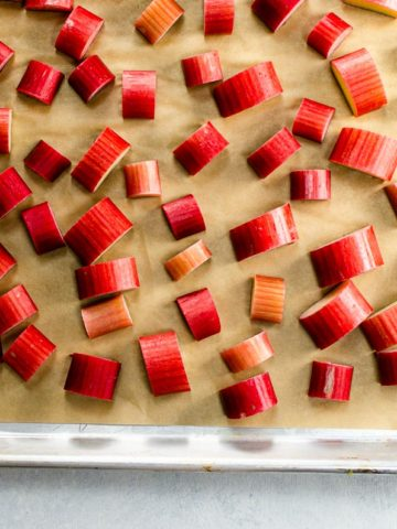 how to freeze rhubarb on a baking sheet