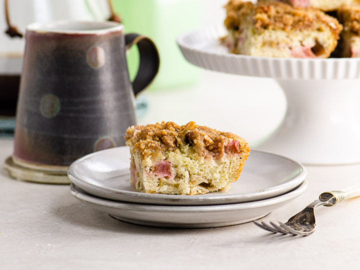 rhubarb coffee cake on a set table