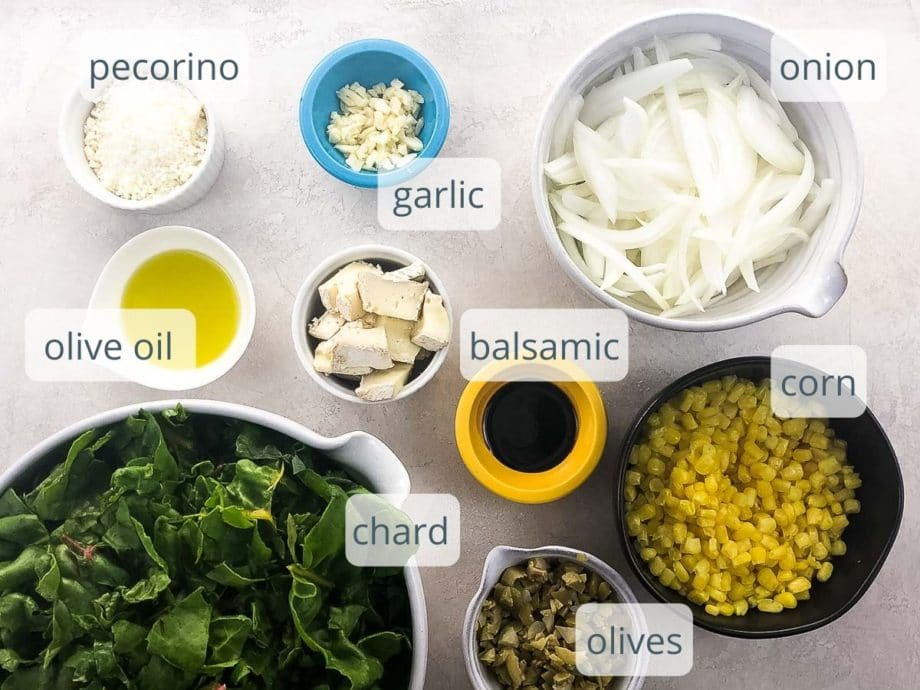 ingredients for savory galette recipe filling