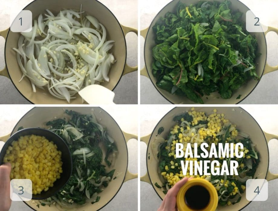 cooking onions, garlic, chard, corn and vinegar in a pan