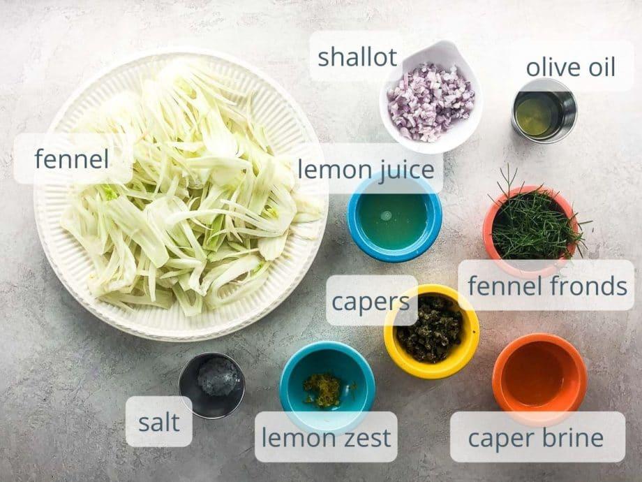 ingredients for shaved fennel salad in bowls