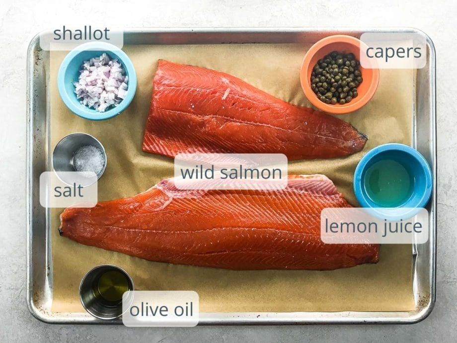 salmon fillets, shallots, capers, salt, lemon juice, olive oil