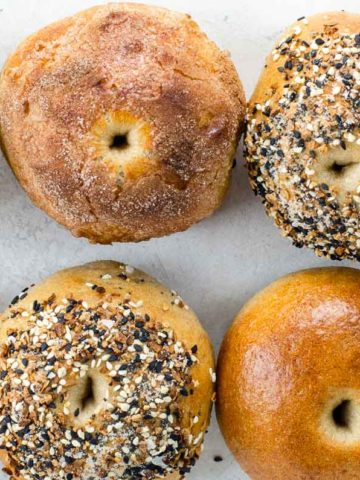eight sourdough bagels