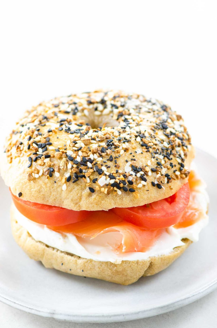 sourdough bagel with cream cheese and lox