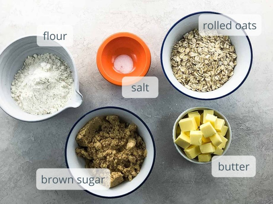 flour, salt, oats, brown sugar, and butter in bowls