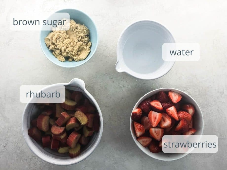 rhubarb, strawberries, brown sugar, and water in bowls