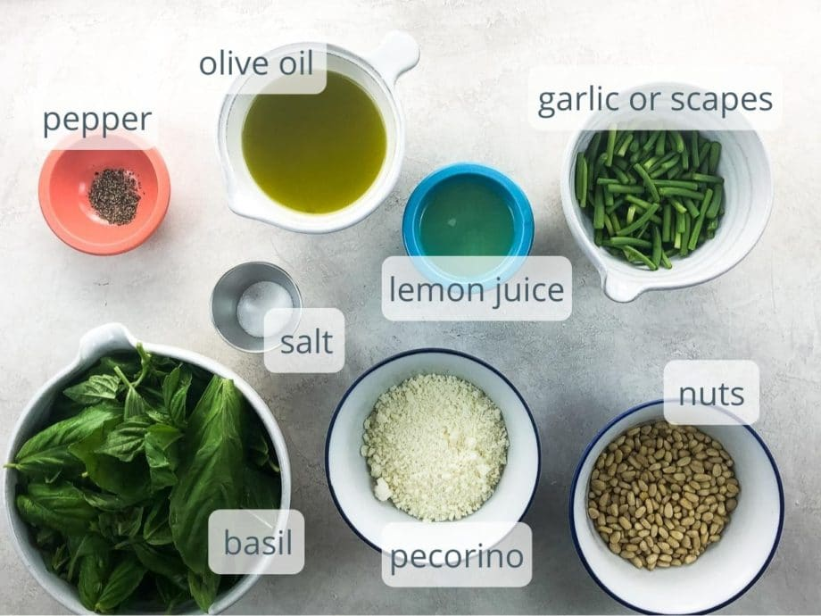 pesto ingredients in bowls