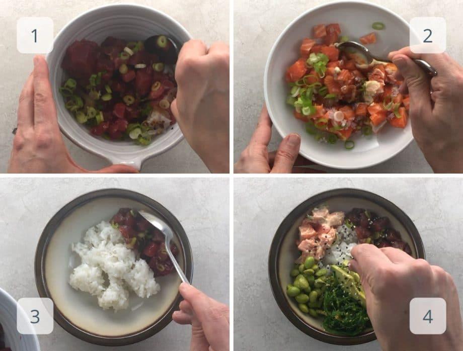 assembling ahi tuna, spicy salmon, and poke bowl