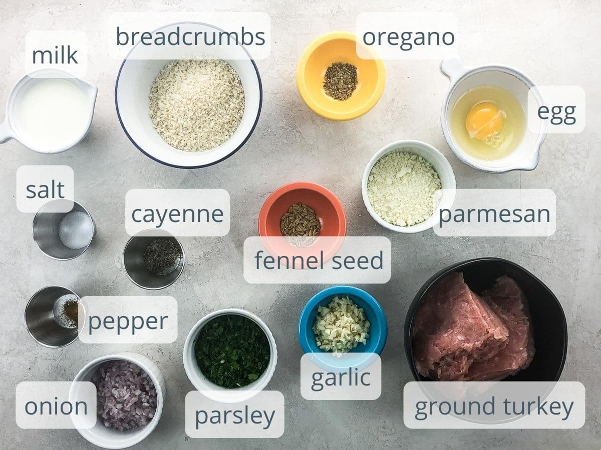 meatball ingredients in bowls