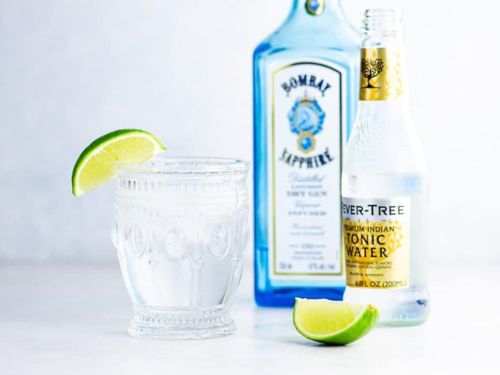gin and tonic with sapphire gin and fever tree tonic