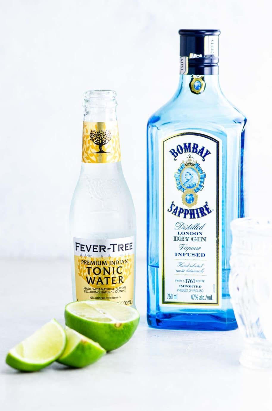 sapphire gin, fever tree tonic water, and lime