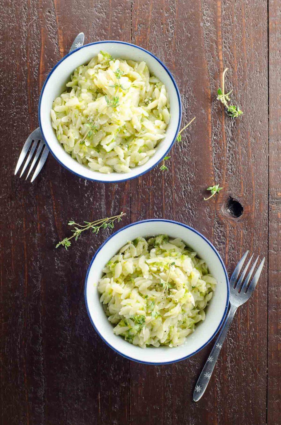 zucchini orzo in bowls