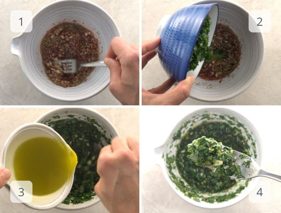 mixing vinegar, herbs, olive oil, and seasonings