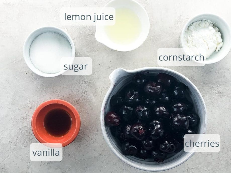 cherries, vanilla, sugar, lemon juice, and cornstarch in bowls