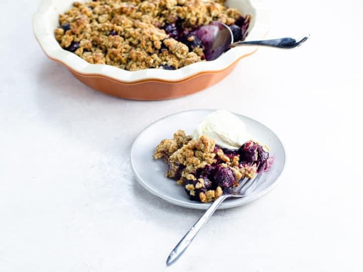 cherry crumble on a plate