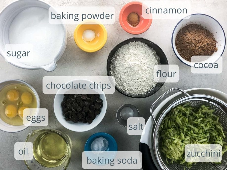 ingredients for cake in bowls