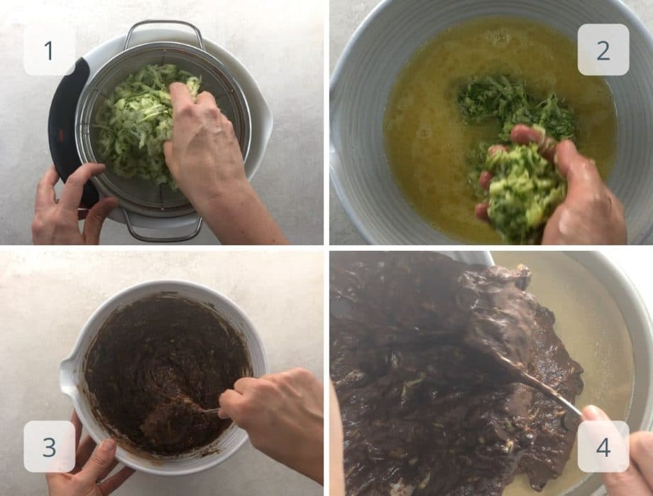 draining zucchini, mixing the batter, and scraping into prepared pan