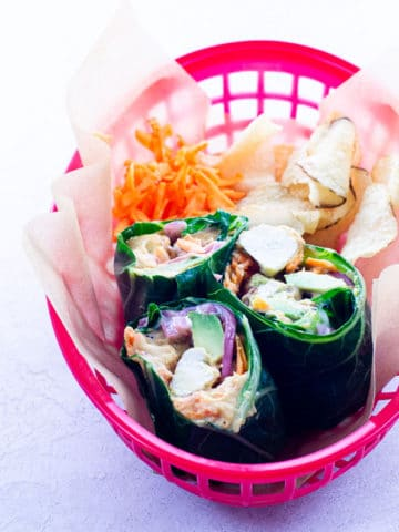 collard green wraps in a basket