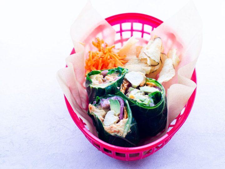 collard green wraps in a basket