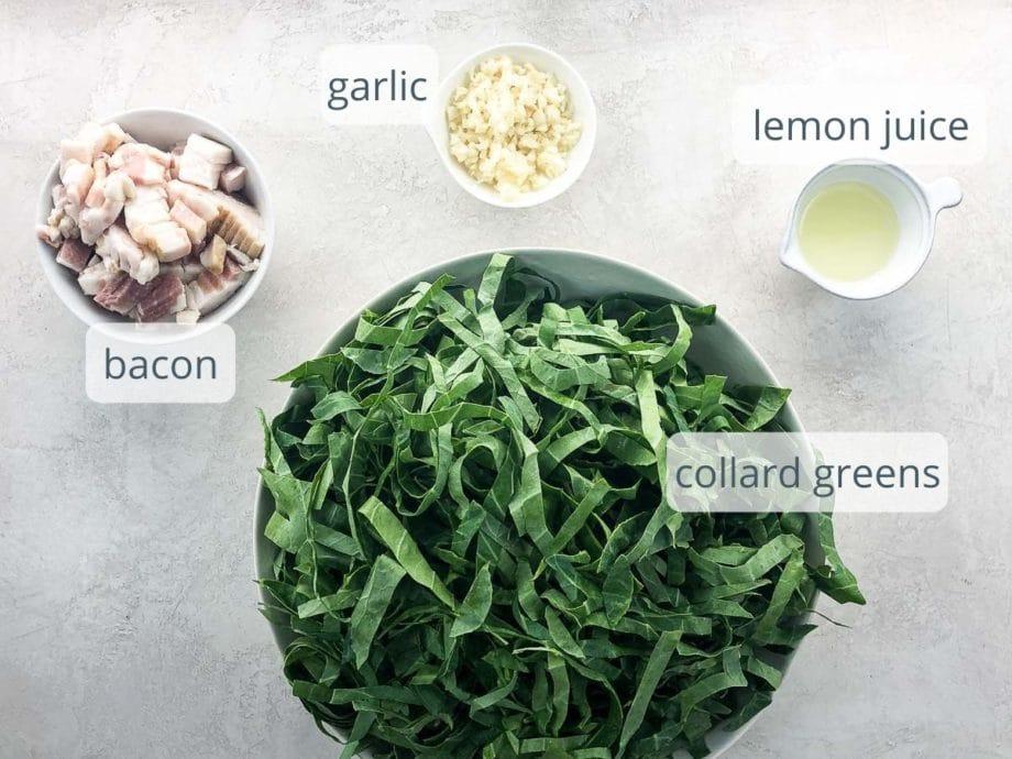 bacon, garlic, lemon juice, and collard greens in bowls