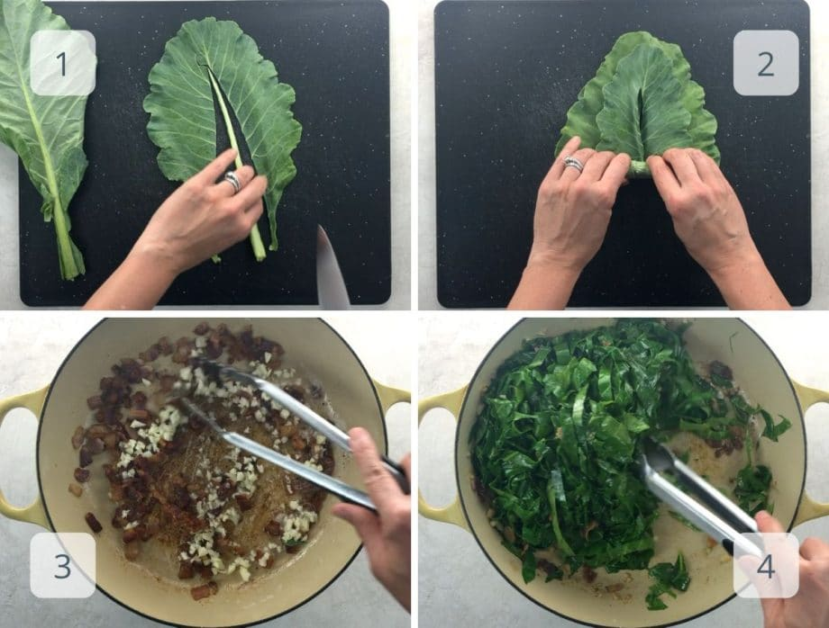 prepping collard greens and cooking bacon, garlic, and greens