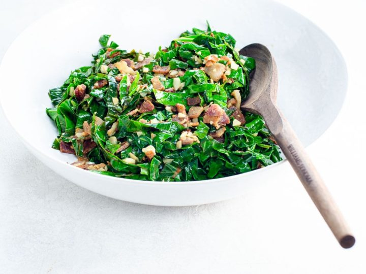 collard greens couve a mineira in a bowl