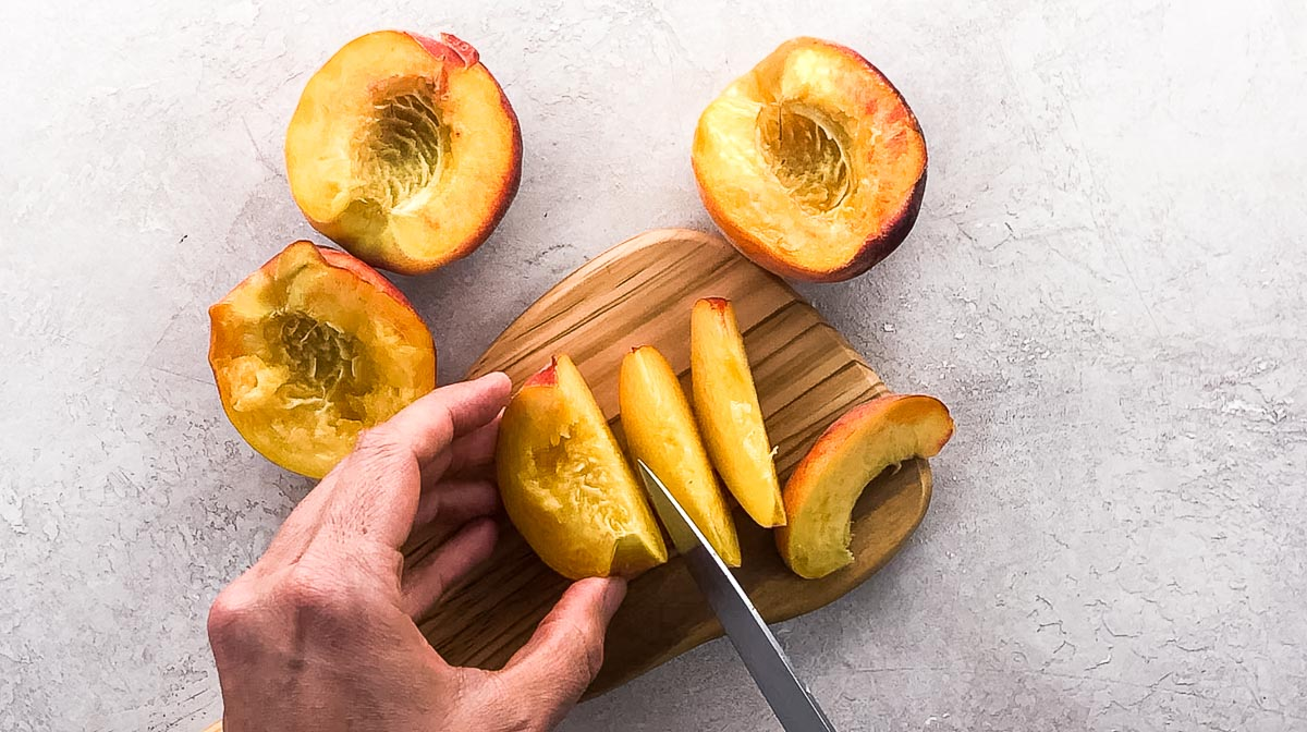 cutting a peach