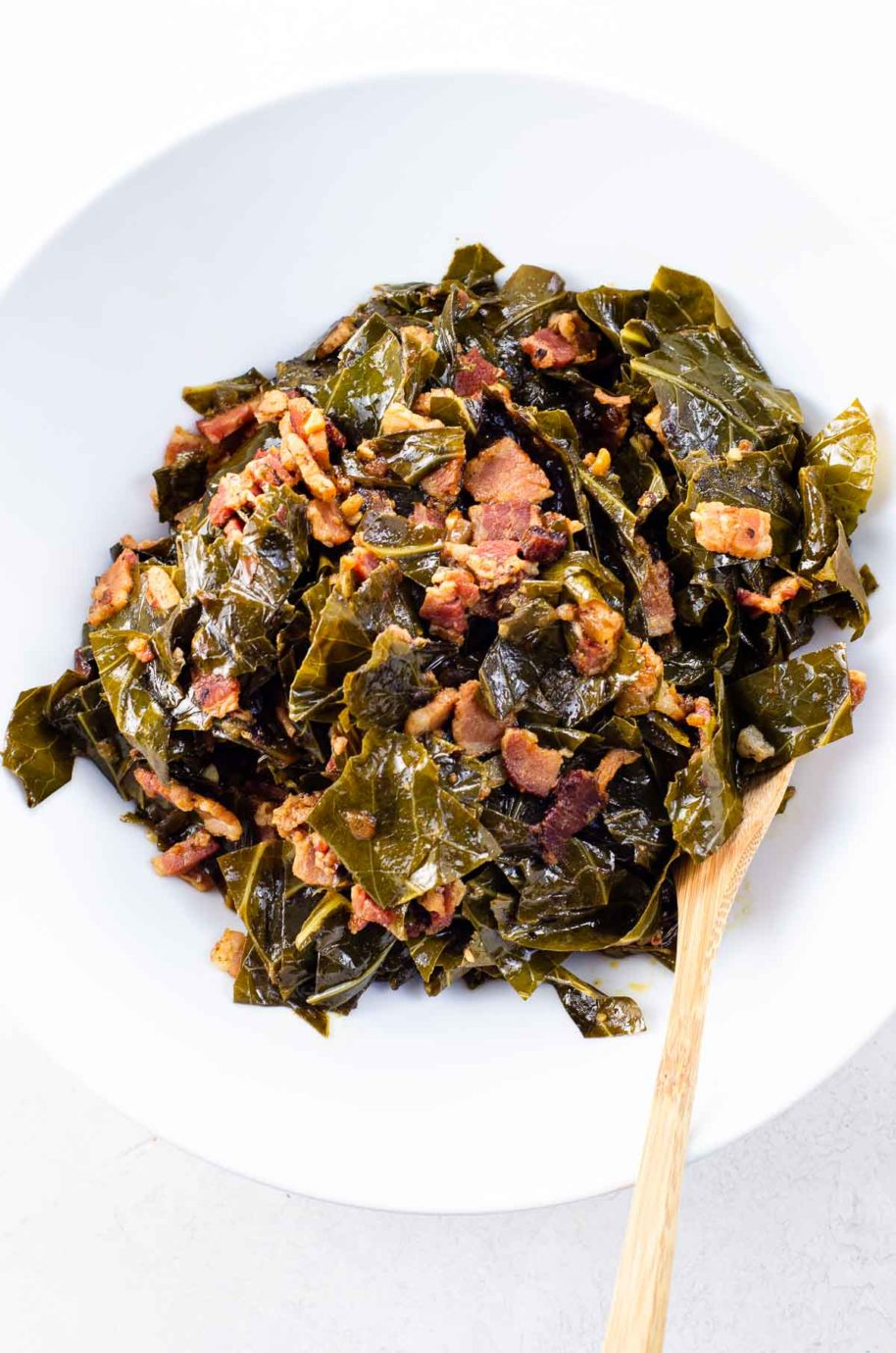 meaty southern collard greens in a bowl