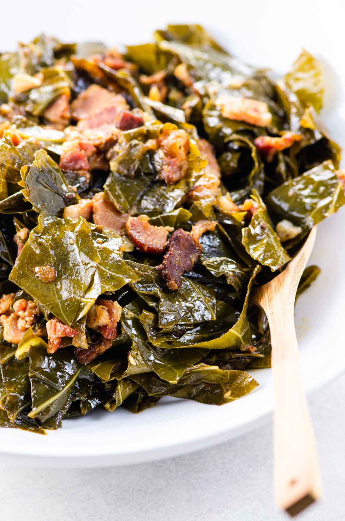 Instant Pot Collard Greens with bacon in a bowl