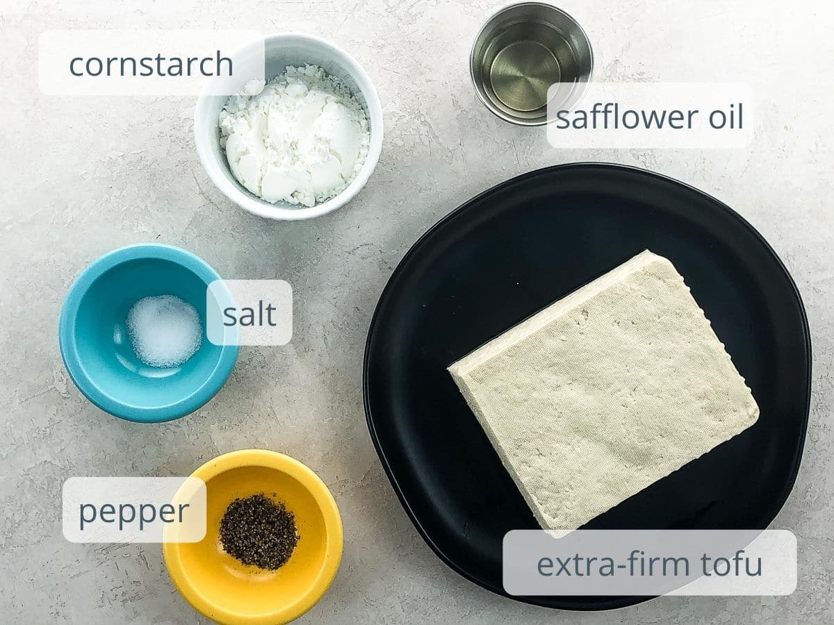 cornstarch safflower oil, extra-firm tofu, salt, and pepper