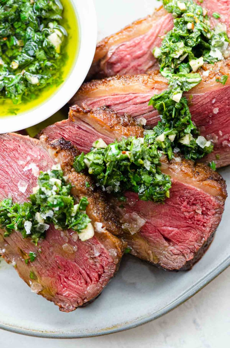 sliced culotte steak / sirloin cap / picanha with chimichurri