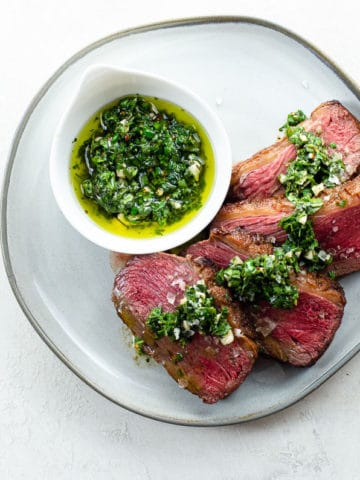 sirloin cap slices with chimichurri