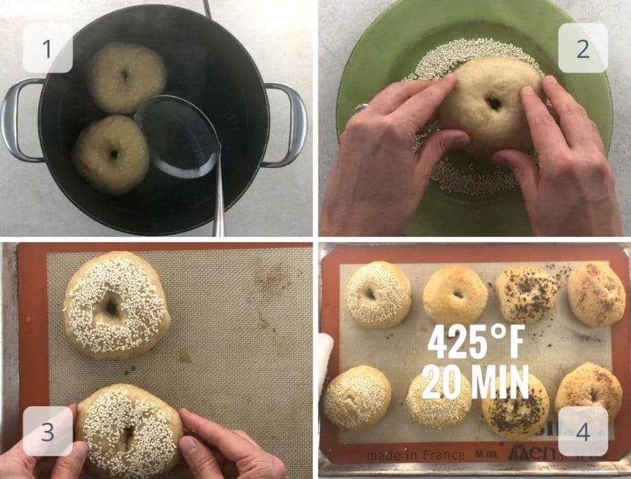 boiling, topping, and baking sourdough bagels
