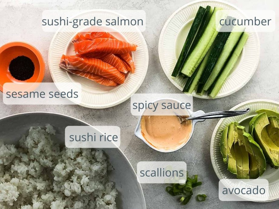 ingredients for homemade sushi on plates