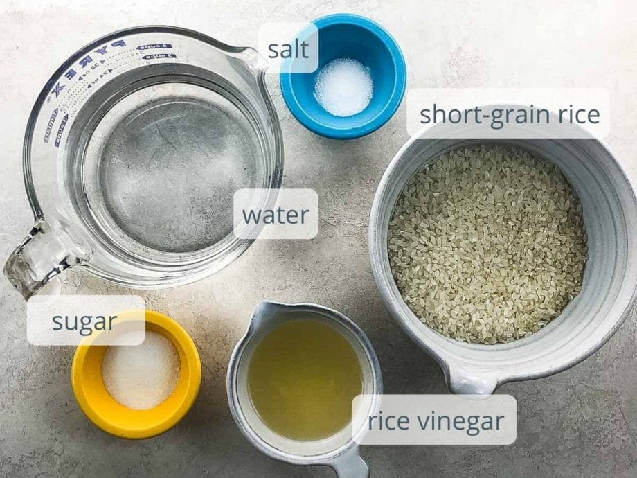 water, salt short-grain rice, sugar, salt, and rice vinegar