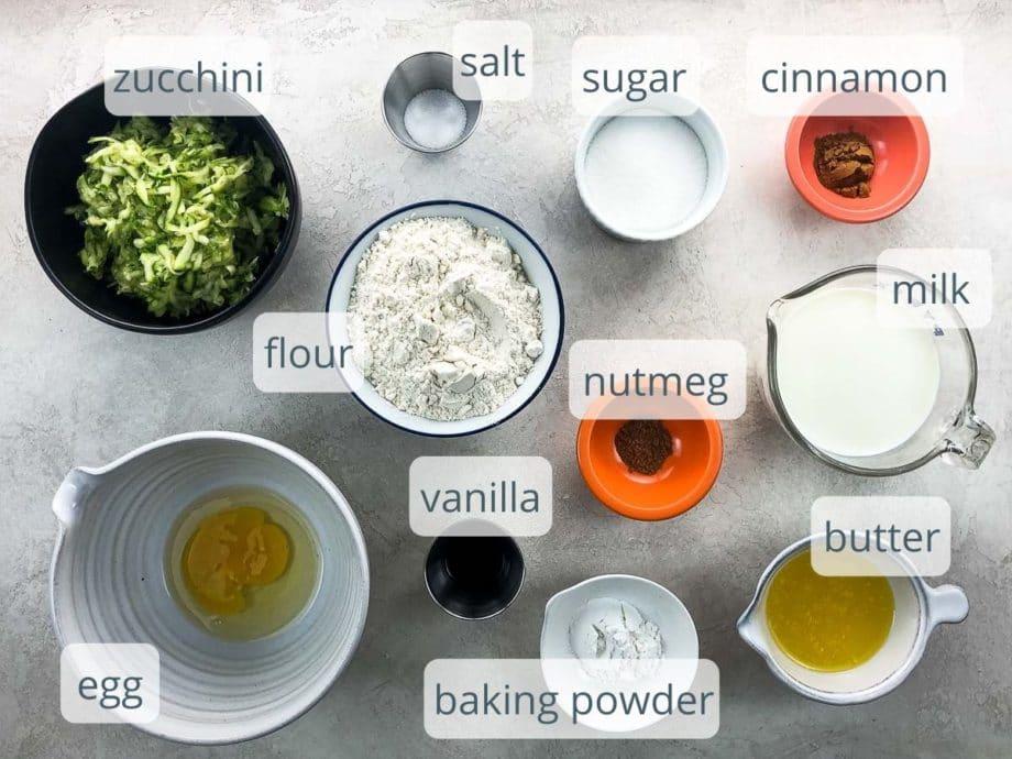 pancake ingredients in bowls