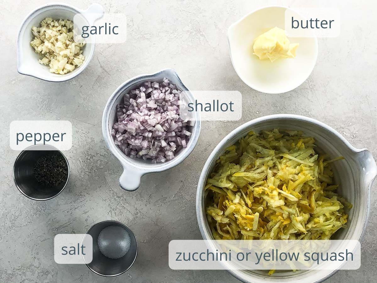 garlic, shallot, butter, yellow squash, salt, and pepper