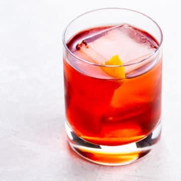 Boulevardier cocktail with an orange twist