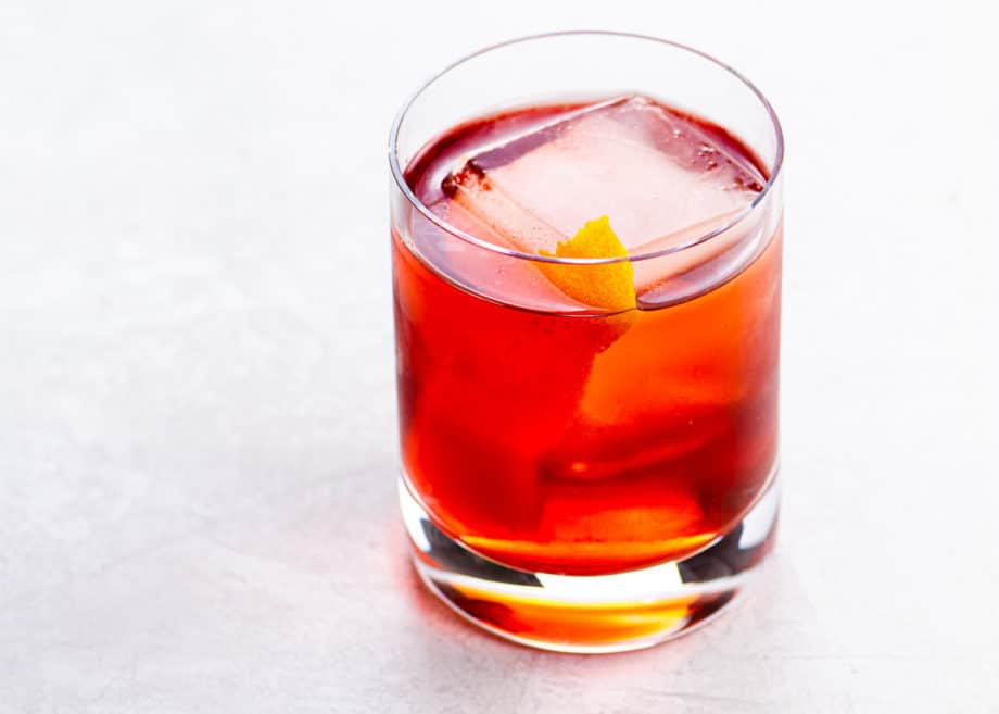 Boulevardier cocktail with an orange twist