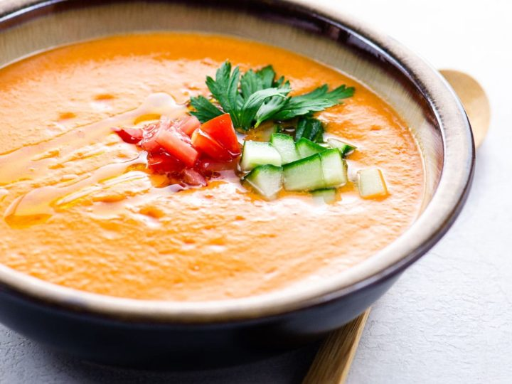 Andalusian gazpacho in a bowl