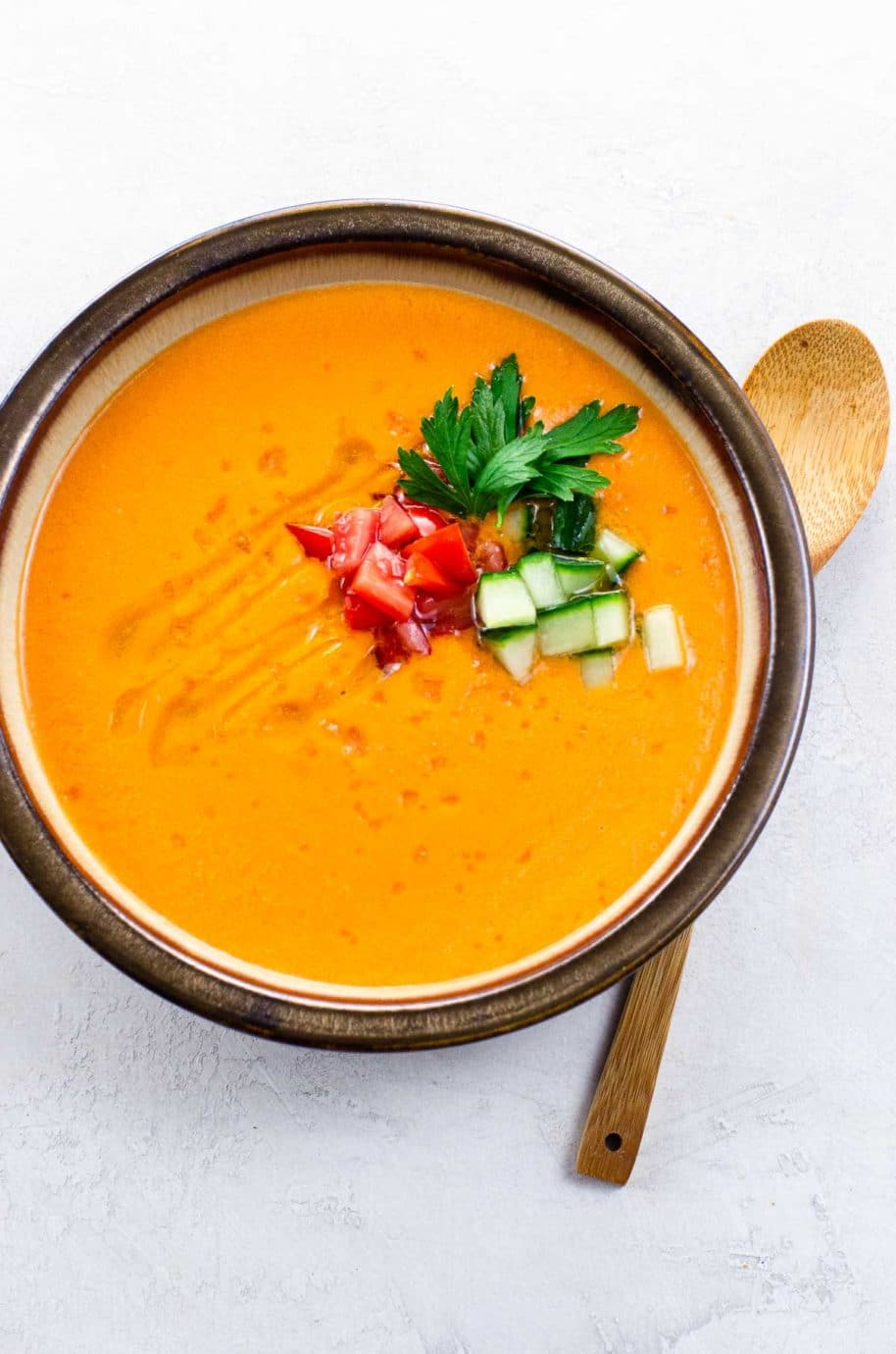A bowl of cold Spanish soup (Andalusian Gazpacho)