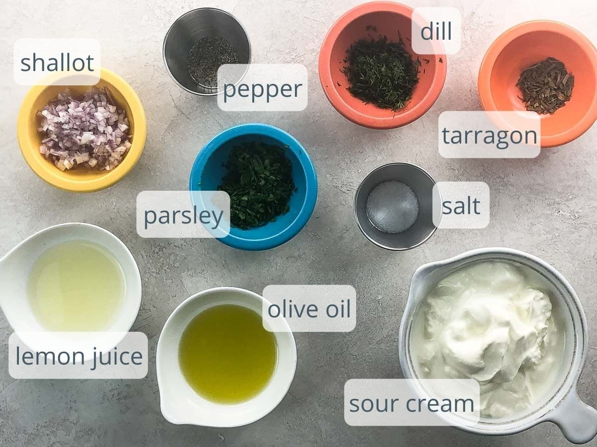 ingredients for creamy herb sauce