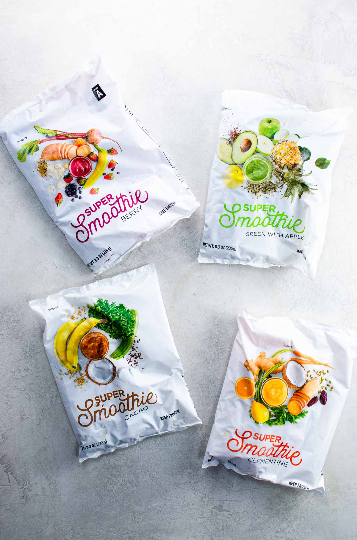 Packages of frozen smoothie ingredients