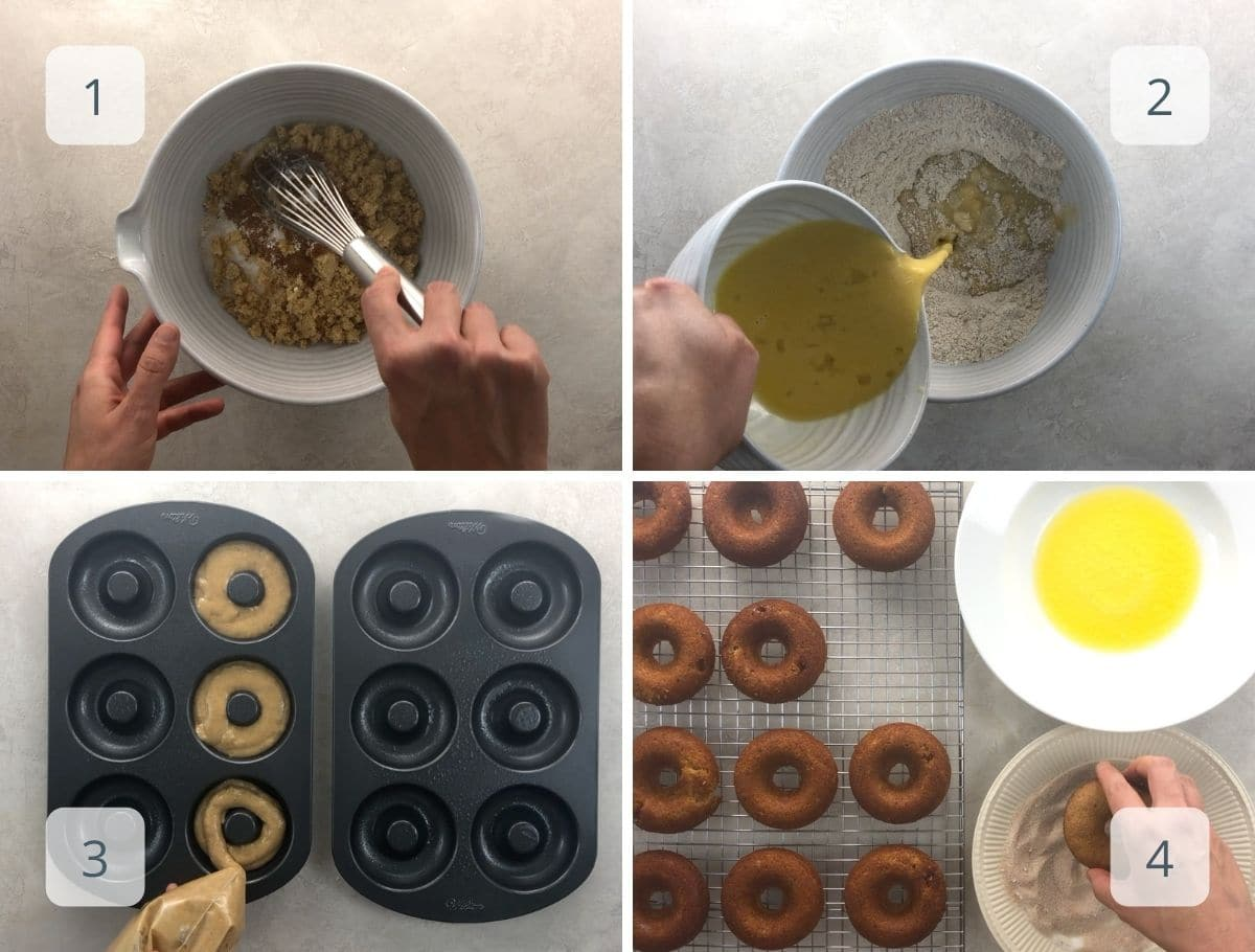 step by step mixing, piping, and topping