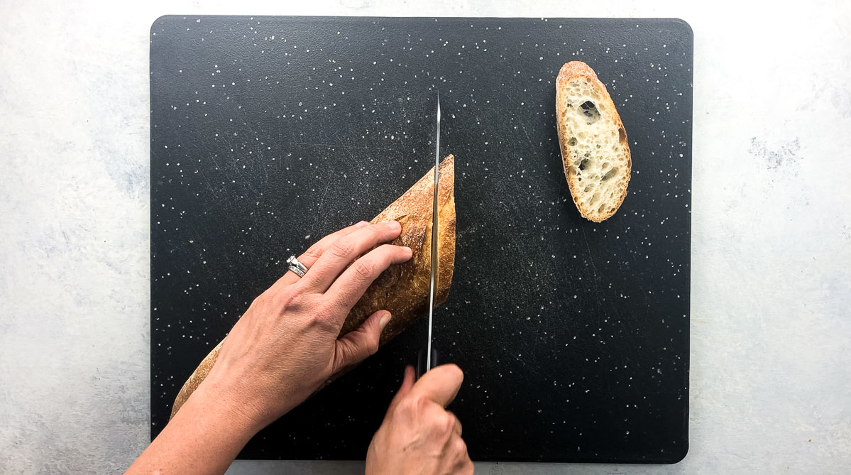 cutting baguette on the bias