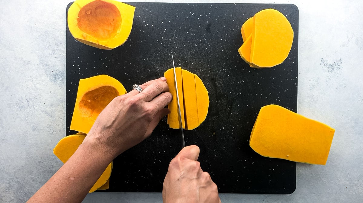 cutting squash into batons