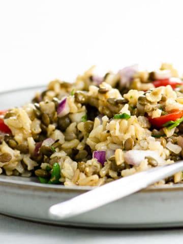 lentil salad on a plate