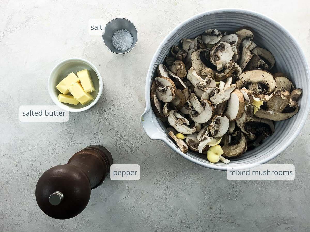 ingredients for sautéed mushrooms