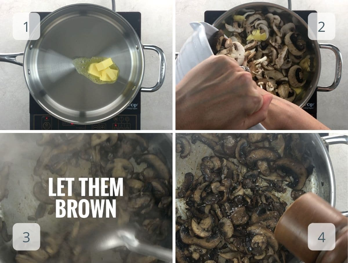 cooking the mushrooms step by step