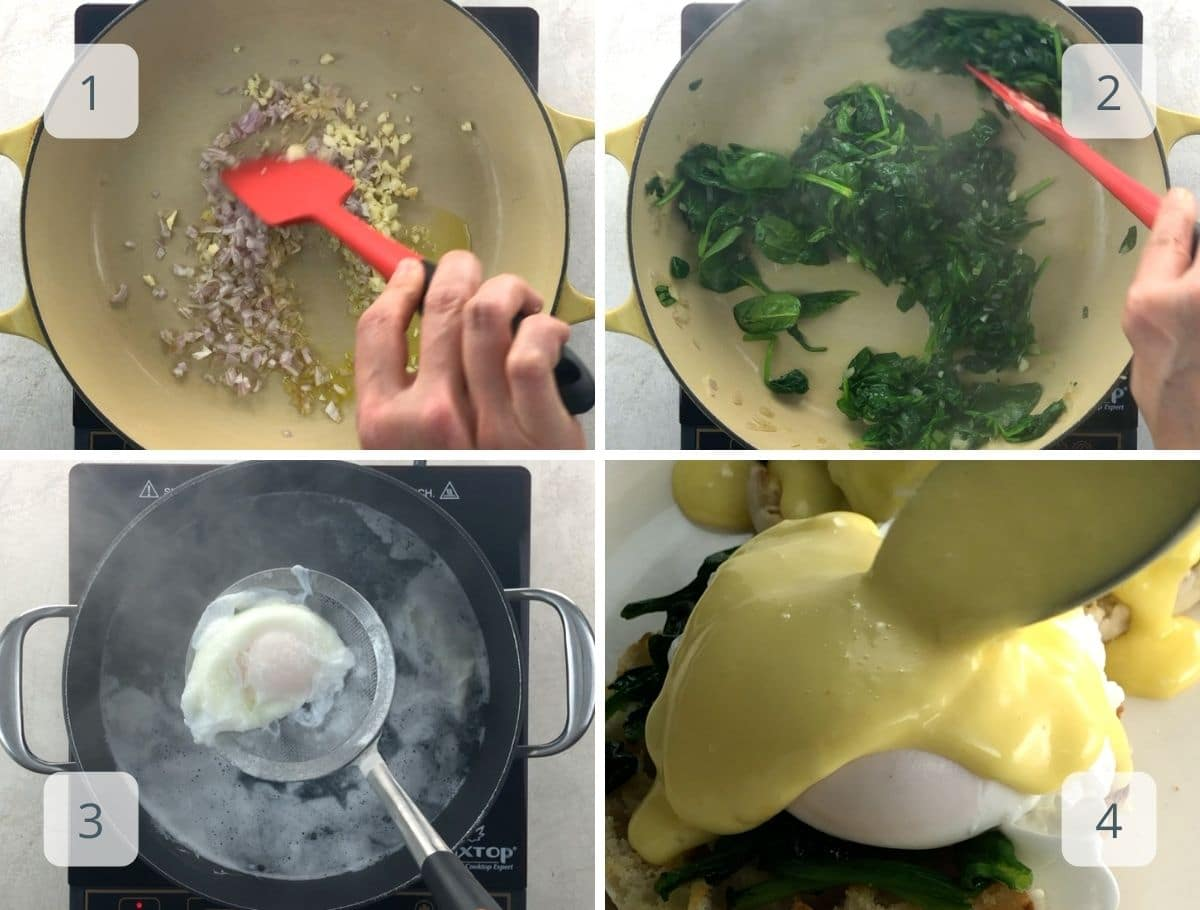 cooking spinach and poaching eggs
